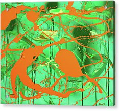 Acrylic Print featuring the painting Green Spill by Thomas Blood