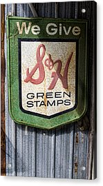 Green Stamp Sign Acrylic Print by Peter Chilelli