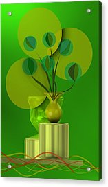 Green Still Life With Abstract Flowers, Acrylic Print