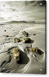 Green Stones On A North Wales Beach Acrylic Print by Mal Bray