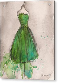 Green Strapless Dress Acrylic Print by Lauren Maurer