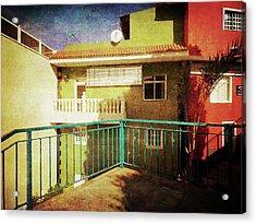 Acrylic Print featuring the photograph Green Street Corner, Alcala by Anne Kotan