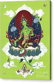 Green Tara Acrylic Print by Carmen Mensink