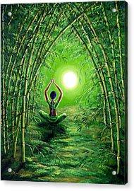 Green Tara In The Hall Of Bamboo Acrylic Print