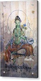 Green Tara  Acrylic Print by Silk Alchemy