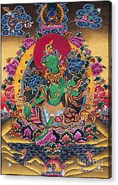 Green Tara Thangka Acrylic Print by Tim Gainey