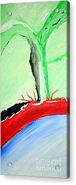 Green Tree Red Ridge Acrylic Print