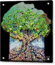 Green Tree With Birds Acrylic Print by Genevieve Esson