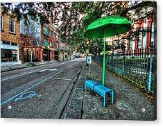 Green Umbrella Bus Stop Acrylic Print