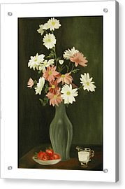 Green Vase With Flowers Acrylic Print by Angelo Thomas
