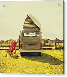 Green Vw T2 Camper Van Rear View Acrylic Print