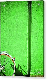 Green Wall And Bicycle Wheel Acrylic Print