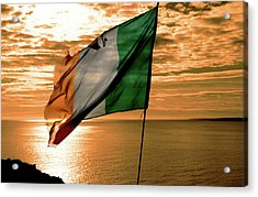 Flag Of Ireland At The Cliffs Of Moher Acrylic Print