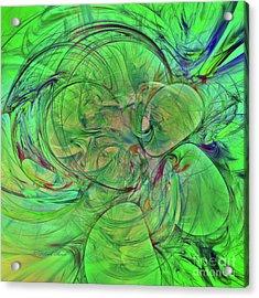 Acrylic Print featuring the digital art Green World Abstract by Deborah Benoit