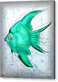 Acrylic Print featuring the mixed media Greenfish by Walt Foegelle