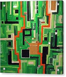 Greens Acrylic Print by Katerina Wagner