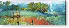 Greenville Hayfield In The Rain Acrylic Print by Virgil Carter