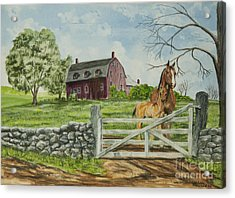 Greeting At The Gate Acrylic Print by Charlotte Blanchard