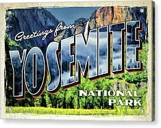 Acrylic Print featuring the painting Greetings From Yosemite National Park by Christopher Arndt