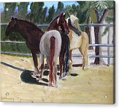 Acrylic Print featuring the painting Gregory And His Mares by Linda Feinberg