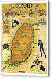 Grenada, Isle Map, Scuba Diving Acrylic Print