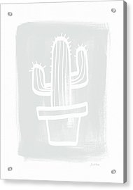 Grey And White Cactus- Art By Linda Woods Acrylic Print by Linda Woods