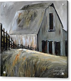 Acrylic Print featuring the painting Grey Barn by Cher Devereaux