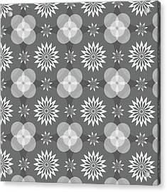 Grey Circles And Flowers Pattern Acrylic Print