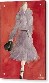 Grey Coat - Watercolor Fashion Illustration Acrylic Print by Beverly Brown