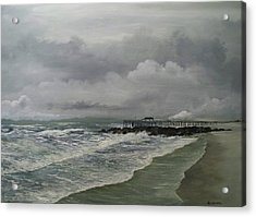 Acrylic Print featuring the painting Grey Day At Ocean Grove by Ken Ahlering