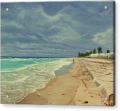 Grey Day On The Beach Acrylic Print by Lea Novak