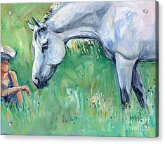 Grey Horse And Cowgirl Acrylic Print