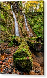 Grey Mares Tail Waterfall Acrylic Print by Adrian Evans