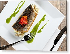 Grey Mullet With Watercress Sauce Presented On A Square White Plate With Cutlery And Napkin Acrylic Print by Andy Smy