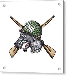 Grey Wolf Ww2 Helmet Crossed Rifles Tattoo Acrylic Print