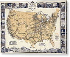 Greyhound Bus Route Map C. 1932 Acrylic Print