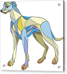 Greyhound Dog Side Mosaic Acrylic Print