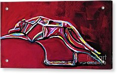 Acrylic Print featuring the painting Greyhound Glass Figurine  by Frances Marino