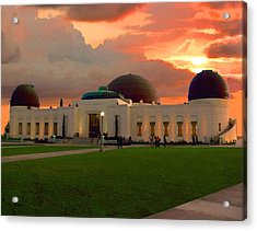 Acrylic Print featuring the digital art Griffith Park Observatory by Timothy Bulone