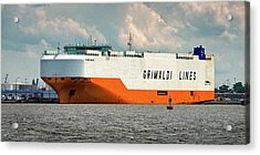 Acrylic Print featuring the photograph Grimaldi Lines Grande Halifax 9784051 At Curtis Bay by Bill Swartwout Fine Art Photography