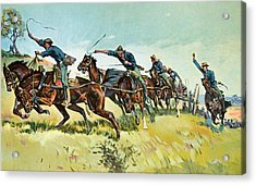Grimes's Battery Going Up El Pozo Hill Acrylic Print by Frederic Remington