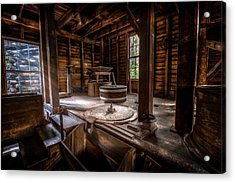 Grindstone At The Mingus Mill Acrylic Print
