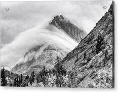 Grinnel Point Black And White Acrylic Print by Mark Kiver
