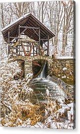 Grist Mill In Fresh Snow Acrylic Print