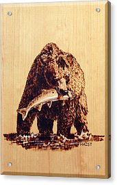 Acrylic Print featuring the pyrography Grizzly by Ron Haist
