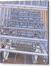 Acrylic Print featuring the digital art Grocery Carts 1 by Kae Cheatham
