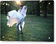 Groom Carrying Bride - F Acrylic Print by Gillham Studios