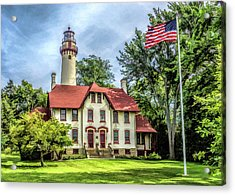 Acrylic Print featuring the painting Grosse Point Lighthouse by Christopher Arndt