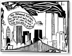 Ground Zero Mosque Maze Cartoon By Yonatan Frimer Acrylic Print by Yonatan Frimer Maze Artist