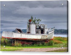 Grounded Fishing Boat Acrylic Print